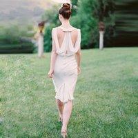Wholesale Elegant Short Wedding Dressess Backless Sheath Chiffon Sleeveless Beach Bridal Gowns Ruffle Jewel Unique Chic Casual Dresses DZ