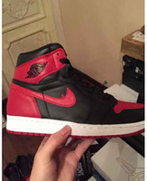basketball lot - 2016 Air s Retro I Banned Bred Black Red White High OG Banned d1s basketball shoes Sneakers of stock