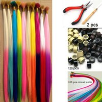 Wholesale 16 gradient color feather hair multicolour hair i tip extensions ball hair extension100pcs Beads Hook plier kit