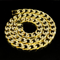 Wholesale Men s New Yellow Gold Silver Hip Hop Finish Diamond Simulate Cuban Necklace cm inch Iced Out cuban diamonds necklace