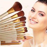 angled eyeliner brush - 12pcs Pro Makeup Brushes Set Synthetic Hair Powder Foundation Eyeshadow Lip Eyeliner Angled Contour Brush Tool T251