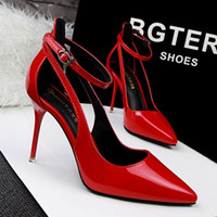 Wholesale Silver Strappy Wedding High Heels - Sexy Black Red Grey Strappy Stiletto High Heels Red Bottom High Heels Women's Shoes With Heels Wedding Party Women Pumps 2891-1
