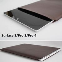 Wholesale Genuine Super Thin PU Leather Bag For Tablet PC Microsoft Surface Pro3 Pro4 Black Brown Blue Red Yellow