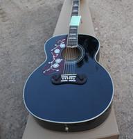 Wholesale Left Handed J200 Guitar in Black Spruce Top Rosewood Back Sides Strings Acoustic Guitar Golden Hardware
