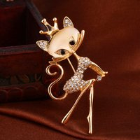 Wholesale Cute Fox Pattern Opal Brooch Sweet and Elegant Lady Beauty Jewelry Girl s Gifts Silver Gold Rhinestone Brooch Crystal Brooch Pins