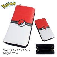 bi bags - Poke mon Bi Fold PU Leather Folding Long wallet purse Coin purse bag Gifts for Children Poke Ball poke mon
