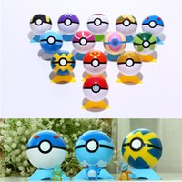 Wholesale 13 Colors Pokeball CM ABS Pocket Monsters Pikachu Balls With Base Cosplay New Pokeball Master Ball BIS BALL Great Gifts For Kids