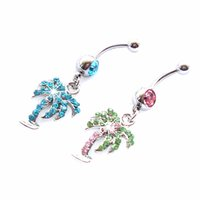 Wholesale Coconut Heart Buttons - 0154 Mix colors styl belly ring belly coconut palm tree piercing jewelry Rings Body Piercing Jewelry Dangle Accessories Fashion Charm 10PCS