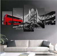 architecture red - Fashion Red Train Contemporary Art Canvas Oil Painting On Canvas Foreign Street Architecture Modern Paintings Wall Decor
