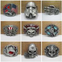 Wholesale Free DHL Man Jeans Decorative Belt Buckle Styles Metal Skull Head Star Wars Belt Buckle Confederate Southern Buckle Gift E875L