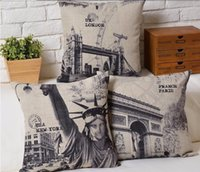 architecture sketch - lack Sketch New York London Paris Classical Architecture Design Beautiful Bird Cushion Neck Euro Case Cover Pillow Home Decor