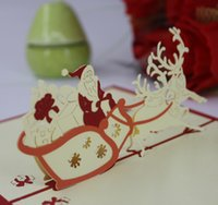 Wholesale 3D Pop Up Merry Chirstmas Greeting Card Christmas Santa Claus Snowman Gift Card By Chinese Paper cut Art