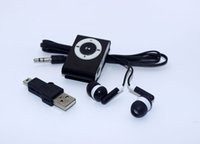Wholesale Mini Clip Metal MP3 music Player without Screen Support Micro TF SD Card Cheap Sport Style with earphone and cable