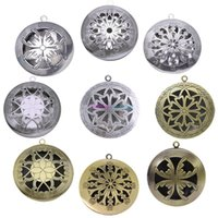 antique style pendants - 12 Style Antique Silver Aromatherapy Lockets Essential Oil Diffuser Hollow Necklace Locket Diffuser Lockets Perfume Lockets b071