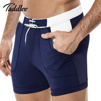 Wholesale Taddlee Brand Sexy Men s Swimwear Swim Beach Board shorts swim trunks Swimsuits Bathing Suits Men Swimming Boxer Surf Wear Gay