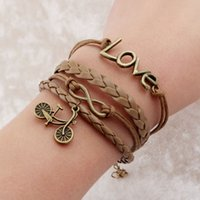 best bicycle chain - Vintage Braided Bicycle Charms Bracelets Cross Anchor Rudder Best Friends Leather Bracelets Charm Jewelry For Women pulseira