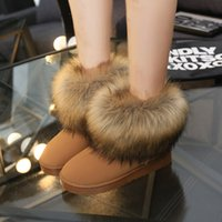 Wholesale Fashion Women Snow Boots Plush Faux Fur Ladies Ankle Boots for Women New High Quality Flats Warm Winter Boots Women Shoes
