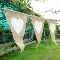 Wholesale Jute rope flax triangular Birthday Party Linen Heart Pennant Flag Banner Wedding Home Decor event supplies Burlap HY1228