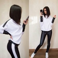 american football shirt designs - Newest Fashion White and Black Women Tracksuits Spring Crew Neck Long Sleeve PU T Shirt Two Pieces New Design Casual Sporting Suits