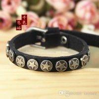 beautiful metal bracelet - Cool Men Woman Jewelry Metal Star Studs Beautiful Genuine Leather Bracelet Soft Braclets Men Bracelet
