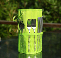 Wholesale Portable Stainless Steel Cutlery Fork Spoon Chopsticks Outdoor Tableware Camping travel with Cloth bag Dinnerware Sets gift