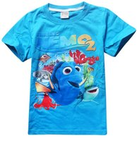 Wholesale 2016 hottest kids style Finding Dory Nemo girl child short sleeved T shirt cotton jersey fabric