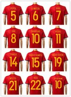 Wholesale 2016 Euro Cup Spain Soccer jerseys INIESTA RAMOS home red away white Thai quality FABREGAS COSTA SILVA ISCO VAXI spain shirt soccer tshirts