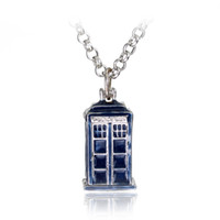 bbc gift - New BBC Television Doctor Who Tardis Police Box Vintage Blue Chain Necklaces Pendants Men Women Jewellery Gifts