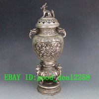 antique foo dogs - Chinese Hand Carved Silver Copper Louts Incense Burner w Foo Dog Lid