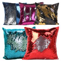 Wholesale Sequins Pillow Case Tone Color Sofa Pearl Sequin Pillowslip Reversible Iridescent Glow Mesmerized Pillow Covers Home Decorative in stock