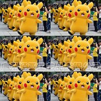 Wholesale Stage Dresses Sale - Hot sale! Pikachu Mascot Costume Fancy Dress Outfit cartoon Poke Cosplay Costumes EMS C1270