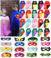 Wholesale 2layer batman kids superhero cape mask children boy costume for children halloween party costumes children captain costume capes and cloaks