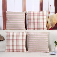 Wholesale DHL SF EXPRESS Pastoralism Pillow cases Simplicity checked back cushion covers cotton linen decorative pillow covers a simple life style