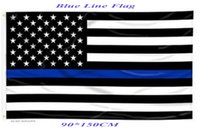 Wholesale 2016 Blue Line USA Police Flags CM Thin Blue Line USA Flag Black White And Blue American Flag With Brass Grommets