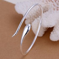 american food europe - Silver Plated Bangle Wedding Jewelry Accessories Europe Classic Opening Silver Snake Bangles Bracelet