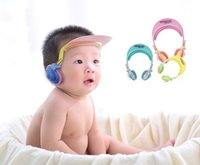 Wholesale Baby bath waterproof earmuffs Baby shampoo cap Ear protection cap cover Adjustable size pink yellow blue HY1204