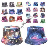 Wholesale New Fashion Women Galaxy Summer Bucket Sunhat Wide Brim Flower Printing Basin Canvas Topee Hats Sun Protection Beanie Caps M191 B