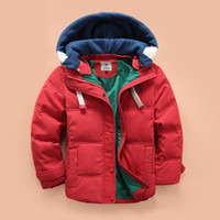 Wholesale Hot Thicken Warm Boys Down Coats with Removable Hooded Long Sleeves Children Jackets Winter Blue Red Yellow Green Colors