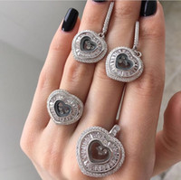 american luxury brands - Luxury brand with moving cz chopar happy heart diamond pendant Earring ring Jewelry Set For Wedding Party Evening gift sterling silver