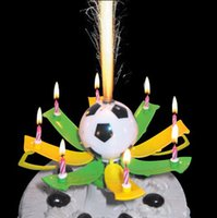 beautiful pillar candles - New Birthday Party Beautiful Soccer Music Candle Birthday Party Decoration Candle White Black Color