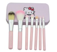 appliance shipping - 7Pcs Set Hello kitty Cosmetic Makeup Brushes Kit Pink iron Case Toiletry beauty appliances make up brush DHL