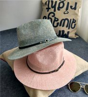 beaches couples resorts - The new mixing rivet belt hollow straw summer beach cap knit hat male and female couple