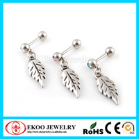 Wholesale jewelry making earring L Surgical Steel Crystalline Gem Falling Feather Dangle Cartilage Piercing Earrings of Body Jewelry