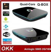 Wholesale Q BOX Amlogic S905 Smart TV Box Quad Core bit Cortex A53 Up to G G HDMI Android Operation System Player Smart Device