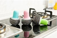 Wholesale Novelty Colorful Steel Wire Ball Cleaning Brush with Handle Kitchen Cleaner Tool for Pan Pot Bowl Brush at RandomColor