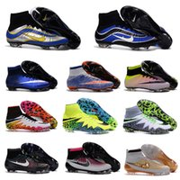 Wholesale OriGINal Mens High Ankle soccer cleats Mercurial Superfly V FG Football boots for cheap soccer shoes Leather cr7 superflys botas de futbol