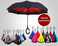 Wholesale Free DHL Upside Down Car Umbrella Automatic Windproof Double Layer Reverse umbrella with C and J handle Creative inverted