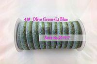 Wholesale 20mm Olive Green Lt Blue Glitter Velvet Metallic Ribbon DIY Bowknot Headbands Wedding Party Webbing Decoration Gift Ribbon Mix Cord yard