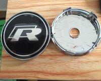Wholesale 20pcs black chrome VW R Wheel Center Hub Cap auto covers for car badges emblem decoration