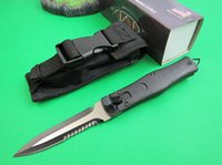 bags direct - Factory direct Microtech Black Tactical Folding knife Single Edge Serrated blade Hunting Folding Pocket Knife Survival Knife with nylon bag